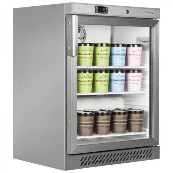Tefcold UF200VGS Stainless Steel Glass Door Display Freezer
