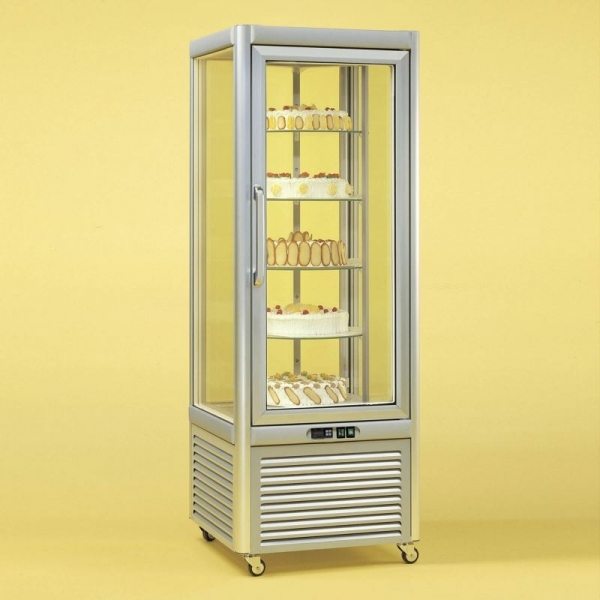 Tecfrigo Cake Fridge in Silver with Rotating Shelves
