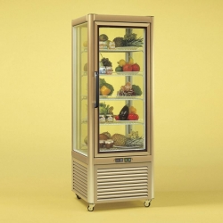 Tecfrigo PRISMA-400QG Single Door Cake Fridge in Gold Wire Shelves