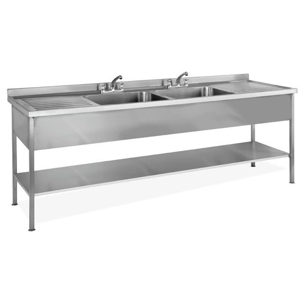 Inomak LA5192C 1.9m Double Centre Bowls With Side Drainers Catering Sink