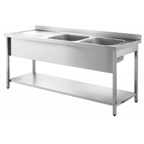 Inomak LA5192R 1.9m Double Bowl With Left Hand Drainer Catering Sink