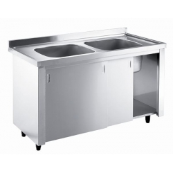 Inomak LK5142C Double Bowl No Drainer 1.4m Catering Sink on Cupboard