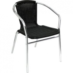 Bolero U507 Black Wicker Chair (Pack of 4)