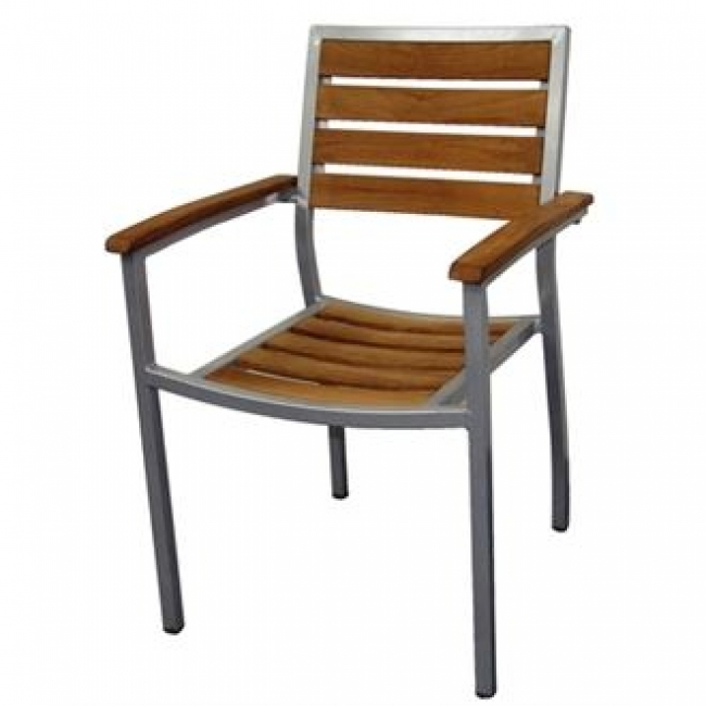 Bolero Teak Aluminium Chairs Pack Of Outdoor Furniture - Teak and aluminium outdoor table