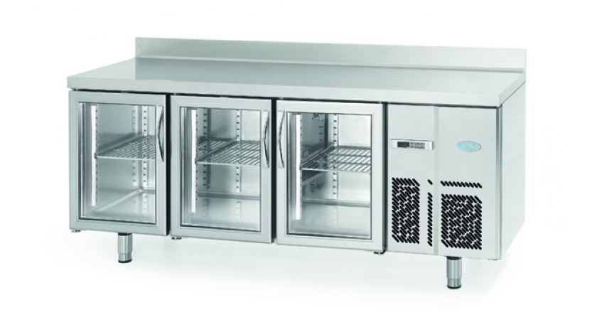 Infrico 700 BMGN 1960 CRISTAL Glass Door Fridge Counter