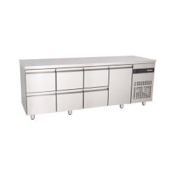 Inomak PN2229 2.2m Six Drawer Single Door Fridge Counter