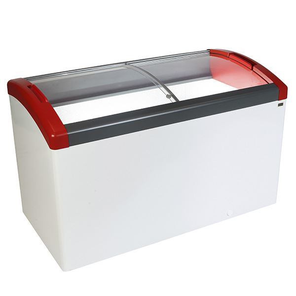 Elcold Focus 131 Sliding Curved Glass Lid Chest Freezer