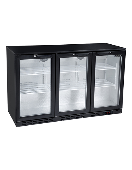 Kool NRLB-BD320A Black Hinged Triple Door Bottle Cooler